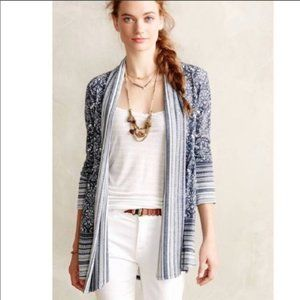 Anthropologie damask open cardigan